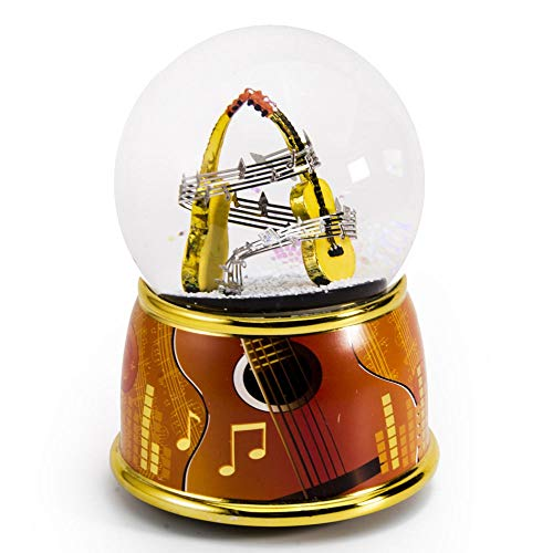 Music Theme Dual Guitars with Painted Base Musical Water/Snow Globe - Many Songs to Choose - Three Coins in The Fountain