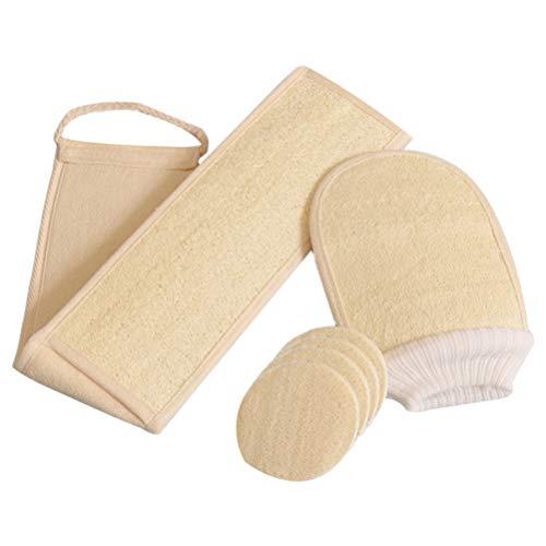 Pixnor Juego de 6 Piezas de Esponja Exfoliante con Exfoliante para El Cuerpo Posterior Guantes para Guantes de Baño Y Almohadillas de Esponja para El Spa Casero Beige