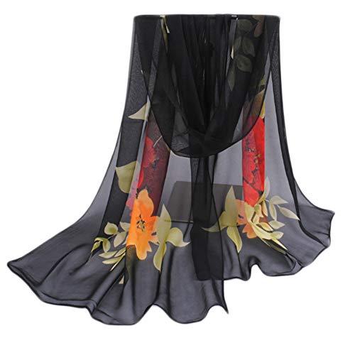 Leichter Blumendruck Frühling Sommer Schal Sonnencreme Schals für Frauen, Schwarz