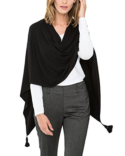 Comma Damen Poncho 85.899.91.0020, Gr. One size, Schwarz (black 9999)