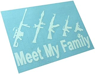 BERRYZILLA Meet My Gun Family Figure Family Funny Vinyl Sticker Bumper Decal (Come with Zombie Hunter Permit Decal) 2nd Amendment