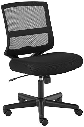 HON ValuTask Mid-Back Mesh Task Chair, Armless Black Mesh Computer Chair (HVL206)
