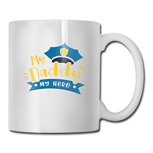 N\A Novedad Tazas de café Gratis My Daddy My Hero Taza de Leche de té Blanco de cerámica, 11 onzas