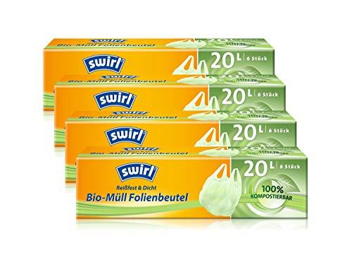 Swirl Bio-Müll-Folienbeutel mit Tragegriff, 20 Liter, 4 Rollen mit je 6 Beuteln
