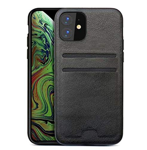WODETIAN Compatible with Iphone 12/12 Pro/12 Pro max Case Wallet Card Holder PC Case Adhesive Stick Firmly On Phone PU Leather Pouch with 2 ID Credit Card Slots Pocket Universal,Black,12pro max