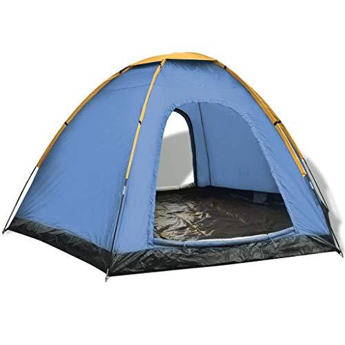 UnfadeMemory Tienda de Campaña para 6 Personas,Tienda de Cámping Acampar Viajar y Vacaciones,360x316x180cm (Azul y Amarillo)