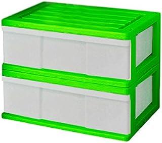 ワイド チェスト 収納ケース 1段 2個組 日本製 MJ-W1-2 (グリーン)
