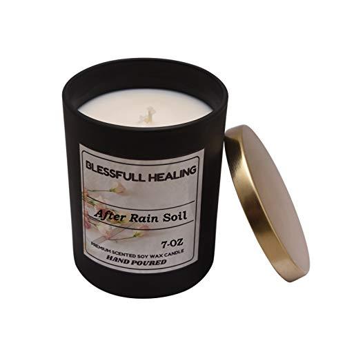 Blessfull Healing 100% Vegan Fragrance After Rain Soil Candela profumata al 100% di Cera di soia Vaso in Vetro Nero Opaco da 7 Once con Coperchio Dorato Candela da Regalo di Natale con aromaterapia