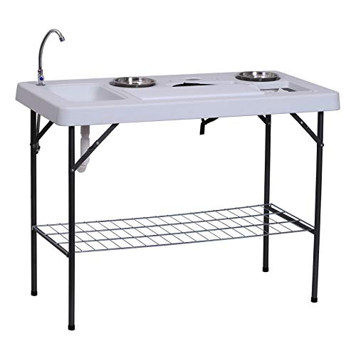 Outsunny 50' L Folding Fish Cleaning Table with Sink, Faucet, and Accessories