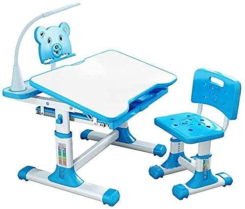 Juego de mesa y silla para niños Juego de mesa y silla Diseño ergonómico Escritorio de escritura para estudiantes de la escuela Escritorio y silla de escritorio inclinable con cajones Almacenamiento