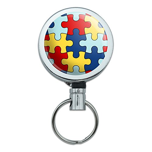 Autism Awareness Diversity Puzzle Pieces Heavy Duty Metal Retractable Reel ID Badge Key Card Tag Holder with Belt Clip