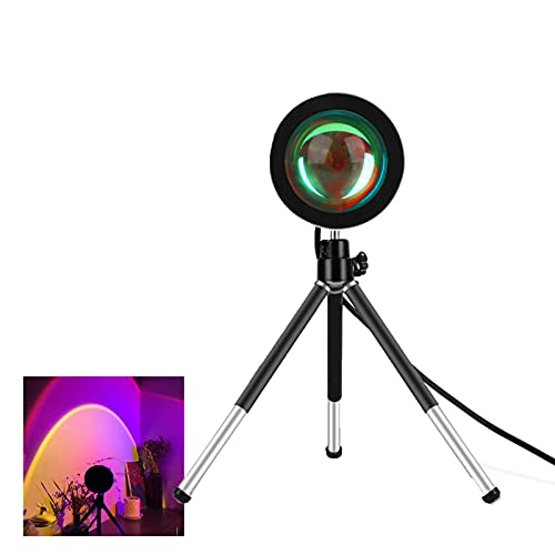 Clicked Sunset Lamp, Sunset Projection Lamp 360 Degree Rotation Projection Led Night Light USB Charging for Photography/Selfie/Home/Living Room/Bedroom Deco (Rainbow)