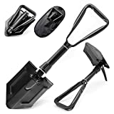 Gramfire Folding Shovel Military Multifunctional Camping Shovel Versatile Compact Shovel for Camping and Hiking Portable and Foldable Entrench Tool with Carry Case ,Black