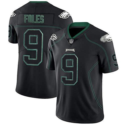 ILHF Philadelphia Eagles American Football Jersey #9 Foles Herren Rugby-Trikot, bestickt, Sportbekleidung, T-Shirt, kurzärmelig, Schwarz, S