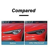 LSHDAT 2 個車のヘッドライト保護フィルムスモーク黒ティントラップビニール透明 TPU ステッカー、アルファロメオステルヴィオ 949 2017-On