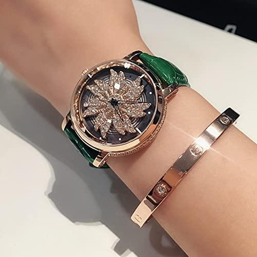 ZWH New Trend Shake con una Personalidad Rotación de Rotación Ladies Diamond Copo de Nieve Genuino Cinturón de Cuero Impermeable Reloj de Estudiante (Color : Green Gold Shell)