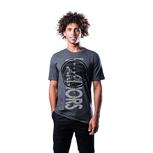 Ultra Game NBA Golden State Warriors Mens Upright Logo Short Sleeve Tee Shirt, Charcoal Heather, Medium