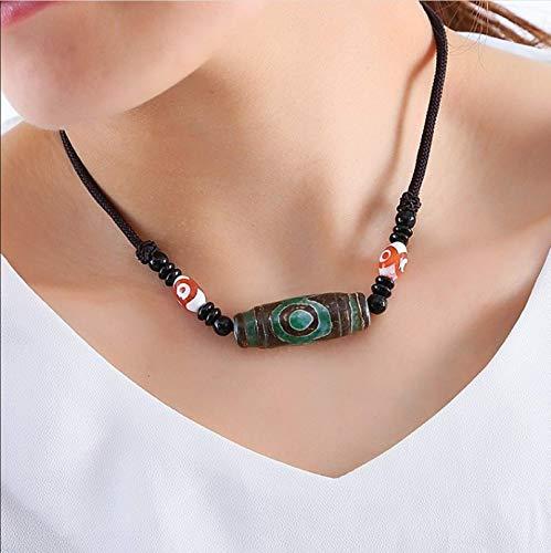 BAJIE BGBG Collar para Mujer Ónix Tibetano Natural 3 Ojos Dzi Colgante Collar Cadena de Cuerda Ajustable Gargantilla Collar para Mujeres y Hombres Joyería Budista 65Cm Verde