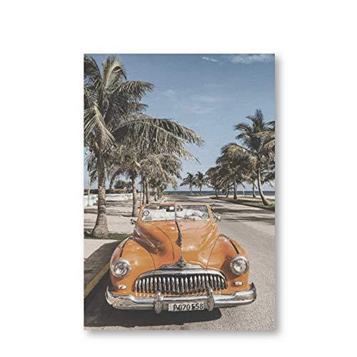 BGGGTD Poster Beach Cuba Landscape Photography Poster Vintage Car Palm Tree Canvas Prints Beach Summer Feeling Wall Art Painting Home Decor -50x70cmx1 No Frame