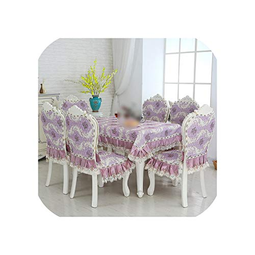 Printing Lace Home Cotton Chenille Kitchen Tablecloth Set Suit Rectangle Table Cloth Chair Cover,Purple,one Chair Cover Set