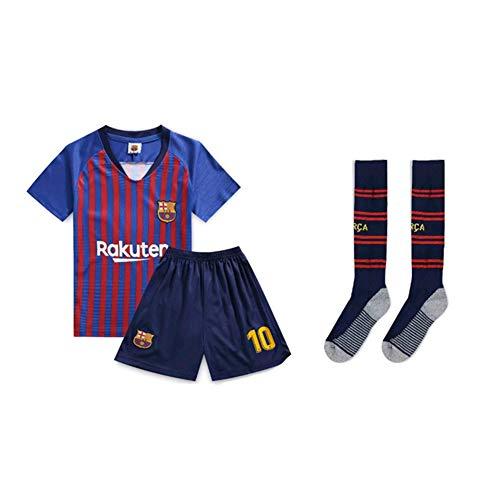 PAOFU-Barcelona Lionel Messi #10 Voetbalshirt voor kinderen, set met sokken