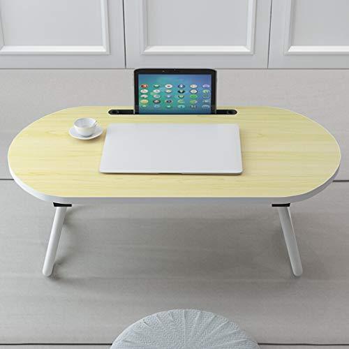 GXC klaptafel, ovaal, voor broodbruinen, frame van staal, creatieve modelbouw, de verdieping kan op een draagbare tafel, bureau met bok worden geplaatst. Geel