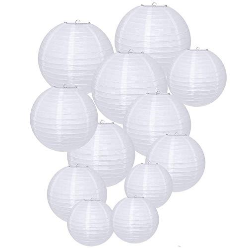 12 piezas- Linternas de papel redondas, Funmo decoración de linterna de papel redonda, fiesta,...