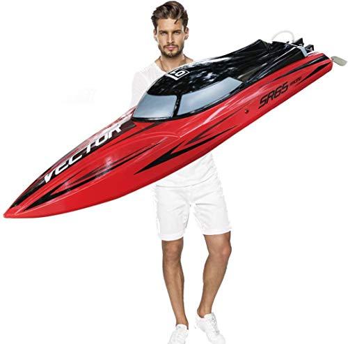 SOWOFA Profesional Racing 25.6 pulgadas Control remoto grande barco velocidad Hobby eléctrico Watercraft motor sin escobillas 55 km/h+ para niños adolescentes adultos (25.5 pulgadas lancha motora)