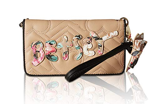 When you want to get up and go, the Betsey Johnson® Wristlet Wallet makes it easy to carry light! Faux-leather construction with stitch detail. Zipper and snap-button closures. Removable wristlet with bow accent. Exterior boasts brand detail and zipp...