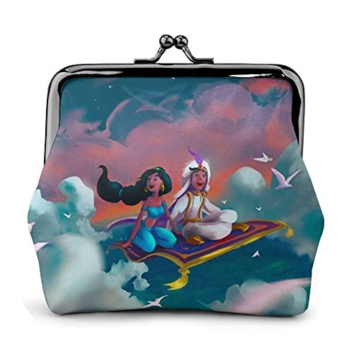 Aladdin Magic Lamp Flower Buckle Monedero de cuero retro con cierre de beso, bolsa de regalo, bolsa de cosméticos