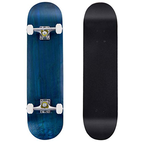 DREAMADE Skateboard Komplettboard Ahornholz, Holzboard Longboard Komplett, Mini Board Funboard 79 x 20 cm, Farbewahl (Blau)