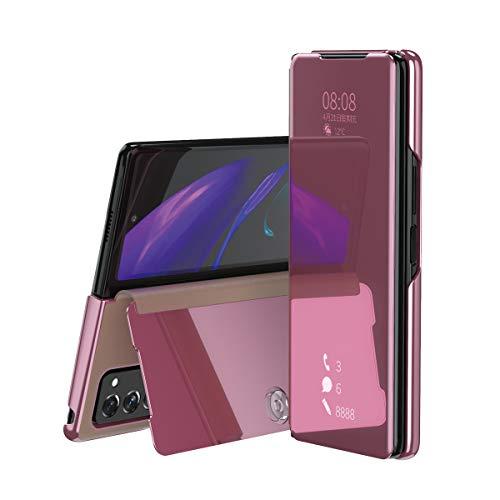 TingYR Hülle für Samsung Galaxy Z Fold 2 Schutzhülle, Plating Spiegel Tasche Cover Smart Handyhülle Schutzhülle Flip Lederhülle Etui, Handyhülle Hülle für Samsung Galaxy Z Fold 2.(Roségold)