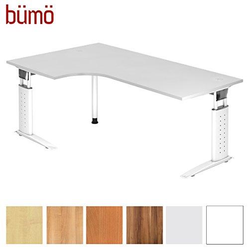 bümö® Schreibtisch höhenverstellbar 68-86 cm | Bürotisch mit Gestell in weiß | höhenverstellbarer Büroschreibtisch | Tisch für's Büro & PC in Top Qualität (Eckschreibtisch: 200 x 120 cm, Weiß)