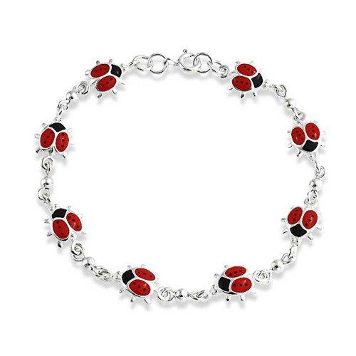 Bling Jewelry Rote Glück Marienkäfer Kleine Emaille Station Charm Armband Für Frauen Für Teen 925 Sterling Silber