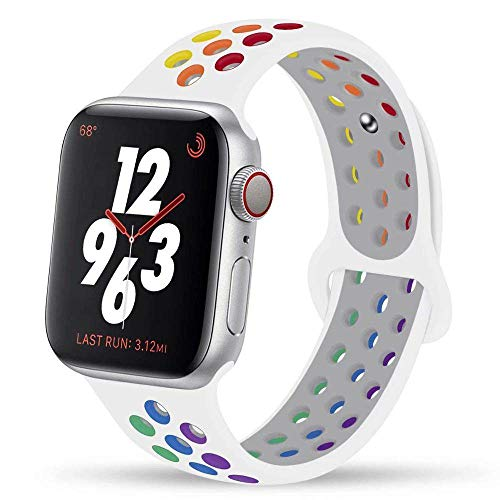 DYH&PW Correa colorida compatible con Apple Watch Band 44 mm, 40 mm, 42 mm, 38 mm, silicona compatible con pulsera iWatch compatible con Apple Watch, Pride Nike, 42 y 44 mm SM