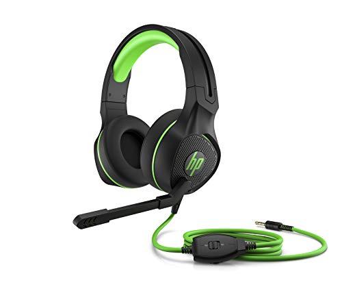HP Pavilion 400 - Auriculares Gaming con micrófono (Sonido estéreo, Controles Integrados en el Cable, Conector analógico de 3.5 mm) Negro y Verde, Talla...