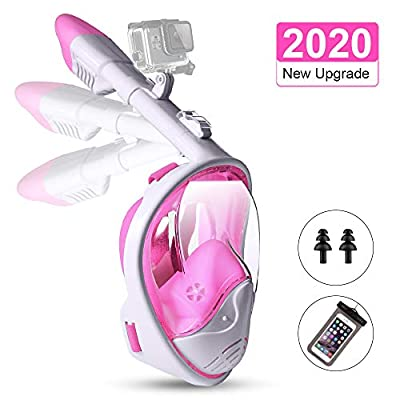 STRENTER Full Face Snorkel Mask Foldable Panoramic View Snorkeling Mask with Detachable Camera Mount Diving Mask with Newest Safety Breathing System Anti-Fog Anti-Leak Snorkel Set