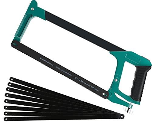 Sierra para Metales Ajusta la Tensión,AIRAJ sierra de arco con 10 hojas de sierra de acero, marco ajustable, sierra de mano con hoja intercambiable, sierra de arco para cortar acero de madera
