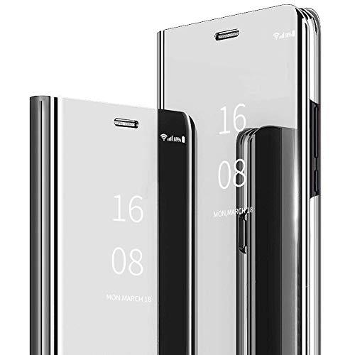 MadBee Coque Galaxy M10 / A10 [Film de Protection écran], Smart Mirror Cover en Cuir Flip téléphone Mobile Étui Housse de Protection pour Samsung Galaxy M10 / A10 (Argent)