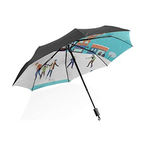 Paraguas de Coche para niños Personas Que patinan en la Pista de Hielo Paraguas Plegable portátil Compacto Protección contra Rayos UV A Prueba de Viento Viajes al Aire Libre Paraguas Compacto para Vi