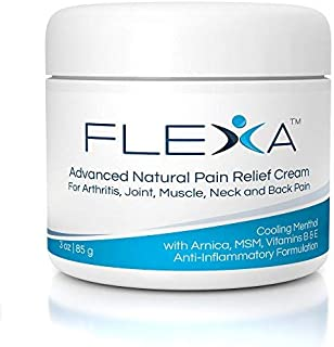 FLEXA Natural Pain Relief Cream - Fast Cooling Formula with Arnica, Menthol, MSM, Ilex Leaf and Tea Tree Oil for Arthritis, Muscle, Back, Neck, and Joint Pain Relief - Anti-Inflammatory - 3 Oz