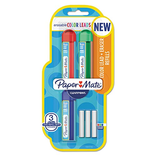 Paper Mate174; Colored Lead & Eraser Refills.7mm, 3ct - Pink/Orange/Purple MULTI-COLORED