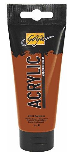 Kreul 84111 - Solo Goya Acrylic, 100 ml Tube in rotbraun, cremige vielseitig einsetzbare Acrylfarbe in Studienqualität, auf Wasserbasis, schnell und matt trocknend, gut deckend, wasserfest