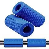 """Greententljs Dumbbell Bar Handle Grips - Standard Bar Grips for Weight Lifting Fitness Strength Training - Arm Chest Workout Machines Grip (Blue, 1"""" Bar, Fat)"""