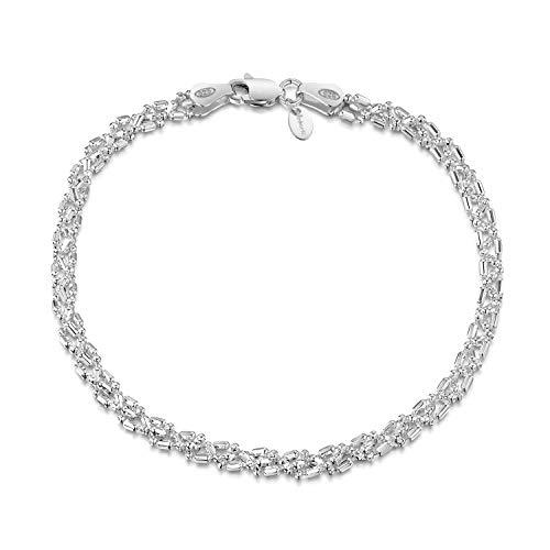 Amberta Gioielli - Bracciale - Catenina Argento Sterling 925 - Modello Sfere Perline Diamantate - Larghezza 3.5 mm - 19cm