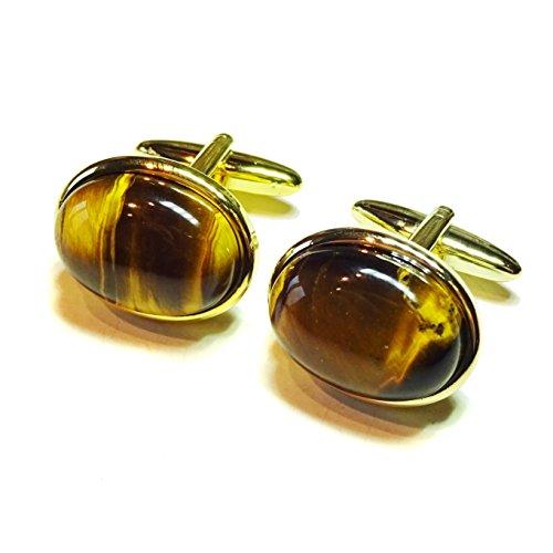 The Black Cat Jewellery Store Boutons De Manchette - l'oeil de Tigre et Doré