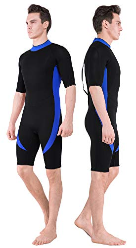 DEHAI Wetsuit Men Women 3mm Neoprene and 2mm Full Body Long Shorty Sleeve Wet Suit Suitable Teen Adult Youth Ladies Male Diving Swimming Scuba Surfing Keep Warm Back Zip Water Sports Swimsuit