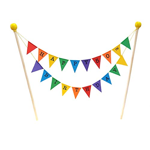 amazing buntings, Happy 50th Birthday Cake Topper Decoration, Rainbow, Preassembled