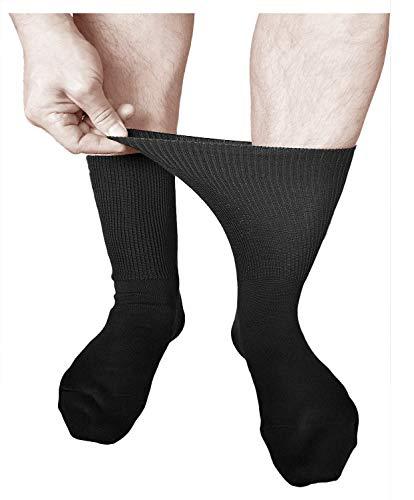 vitsocks Calcetines Hombre Extra Anchos para Pies Hinchados y Diabéticos (3 PARES) que no aprieten ALGODÓN, Salud, negro, 39-41