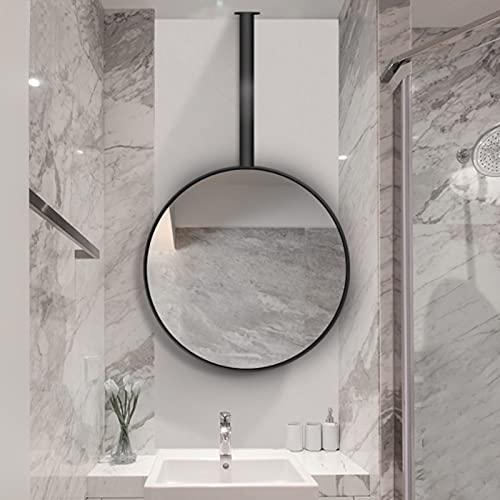 Circle Modern Hanging Asta Mirror Specchio Nero Metallo Telaio a soffitto Specchio a soffitto Bagno Bagno Bagno Bagno Vanity Rasatura Specchio Specchio Agriturismo Agriturismo Specchio decorativo